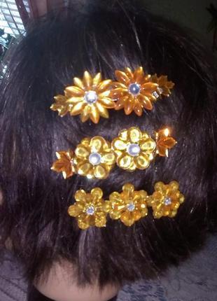 Красивая янтарная заколка/бижутерия/резинка/украшения для волос