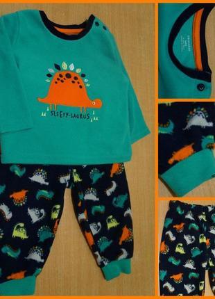 Primark флисовая пижама 9-12 мес флісова пажама