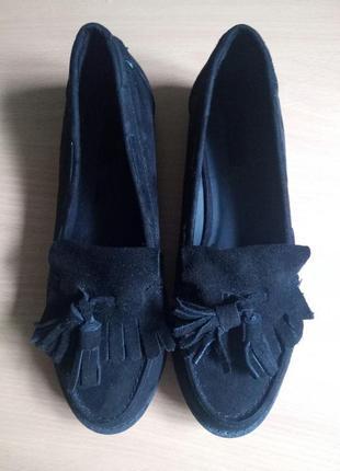 Черные замшевые туфли лоферы с кисточками 37 размер