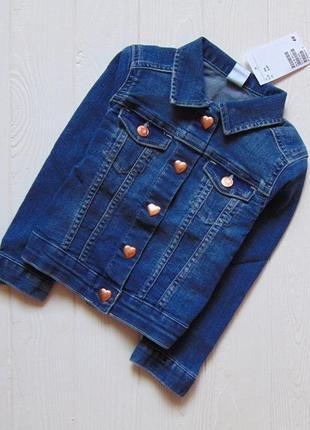 H&m. размер 3-4 года. новая стильная джинсовая куртка для девочки