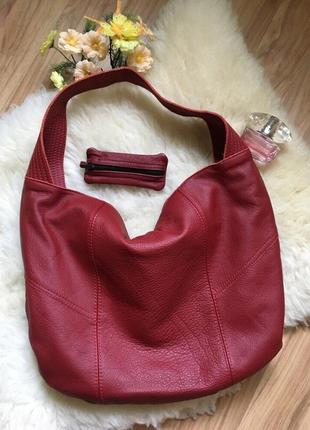 Шикарная темно красная сумка мешок натуральная кожа