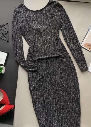 👗изумительное вечернее чёрное платье/платье миди с длинным рукавом/платье с блёстками👗