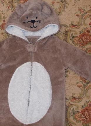 Пижама кигуруми слип человечек мышка на 1,5-2 года рост 86-92 см