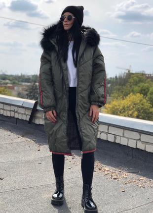 Куртка оверсайз хаки с лампасами одеяло