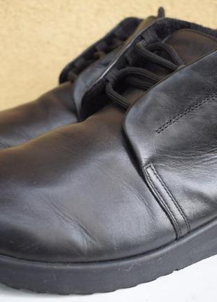 Зимние ботинки на широкую стопу кожаные полусапоги