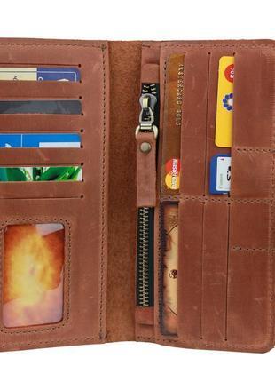 Кожаный кошелек, бумажник коричневый
