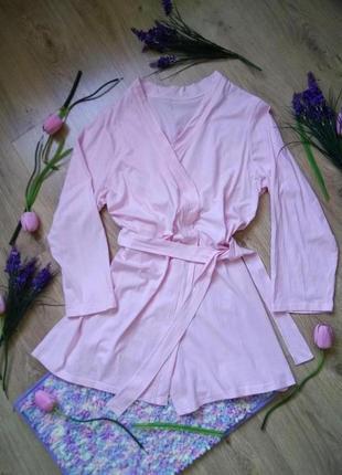 Нежный розовый трикотажный халат с сердцем на спине 100% коттон