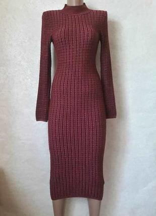 Фирменное topshop стильное вязаное платье-миди рубчик в мелкую клетку, размер с-ка