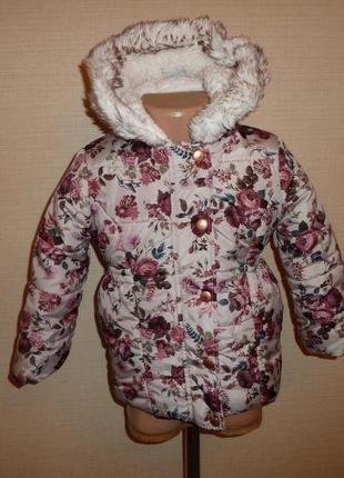 Теплая куртка, пальто на 3-4 года f&f