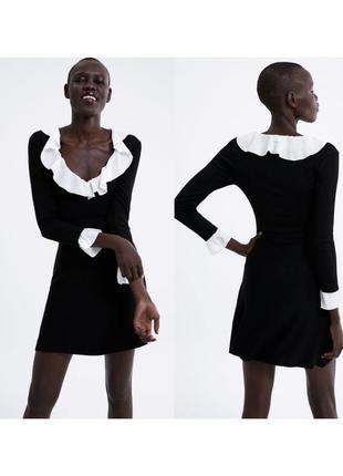 Новое чёрное платье zara с белыми вставками