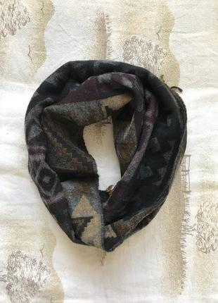 Шерстяний шарф, шарф в орнамент, теплий шарф