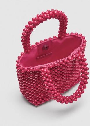 Шикарная стильная актуальная плетеная сумка из бусин мини маленькая zara