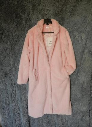 ✅ красивенная нежно розовая плюшевая меховая шубка миди длинны
