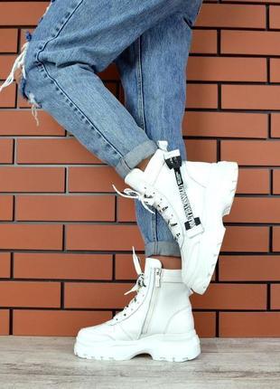 Натуральная кожа эпатажные кожаные осенние ботинки на массивной подошве