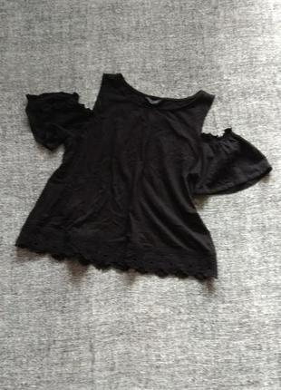 Черный трикотажный топ-футболка с открытыми плечами #размер 14