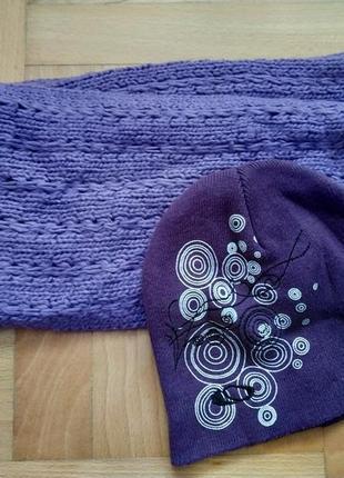 Комплект набор шапка шарф лыжи