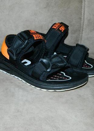 Босоножки сандали детские черные с оранжевым размер 32.2 фото