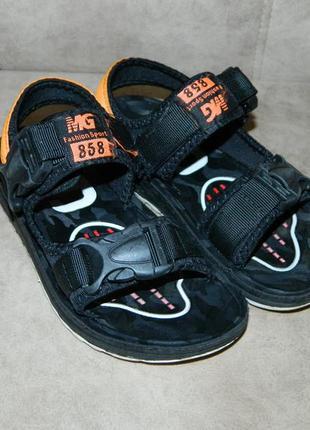 Босоножки сандали детские черные с оранжевым размер 32.3 фото