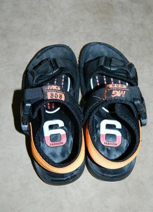 Босоножки сандали детские черные с оранжевым размер 32.6 фото
