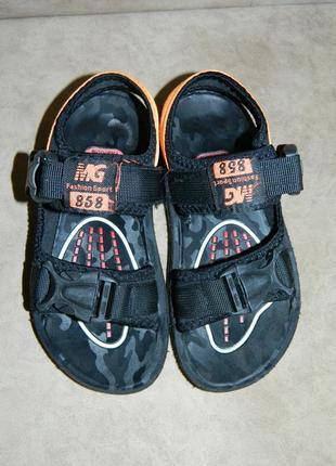 Босоножки сандали детские черные с оранжевым размер 32.5 фото