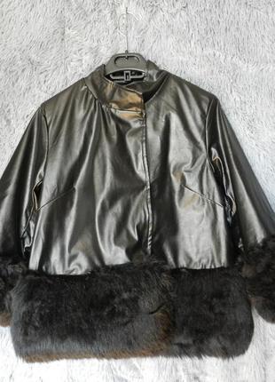 ✅ красивая укороченная куртка с рукавом 3\4 украшена мехом