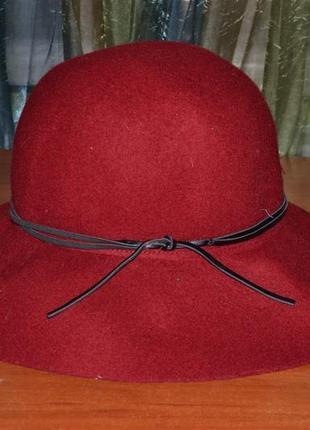 Шляпа гранатовый 100%шерсть