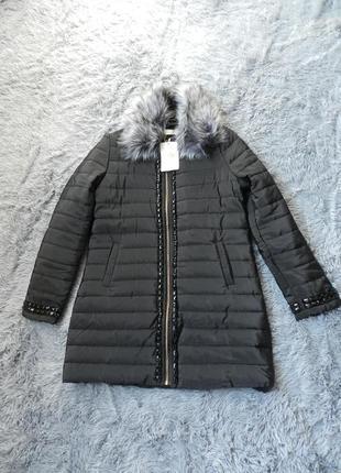 ✅  пальто куртка евро зима со съёмным мехом  украшено камнями стразами  рр 4648