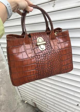 Шикарная кожаная сумка ретро стиль сделана кожа крокодила сумка кожаная