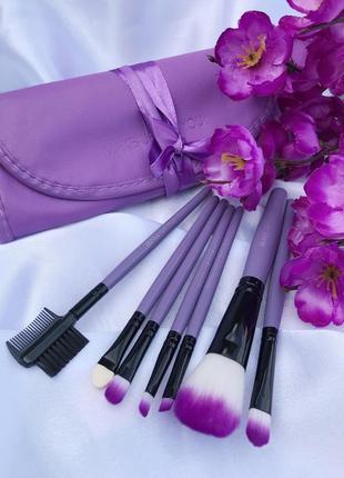 Набор кистей для макияжа make up for you 7 штук в фиолетовом чехле