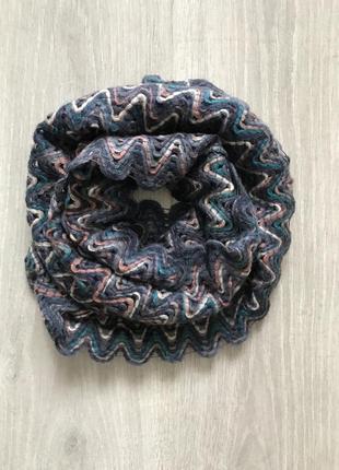 Красивый разноцветный шерстяной шарф хомут accessorize