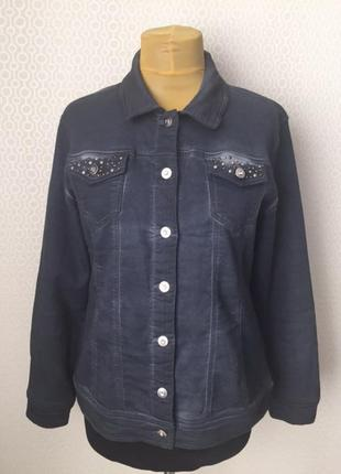 Классный трикотажный жакет куртка (фасон, как у джинсовых курток), размер l, бренд  mocca