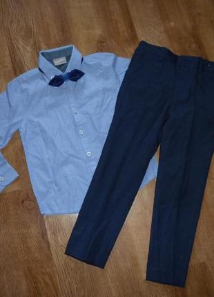 Next signature классический костюм - брюки, рубашка и галстук некст на 4-5 лет