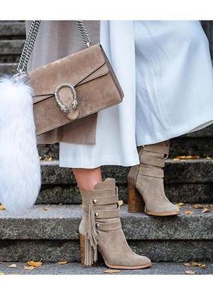Ботинки бежевые песочные кожаные zara оригинал осенние сапоги 39 полусапоги с бахромой