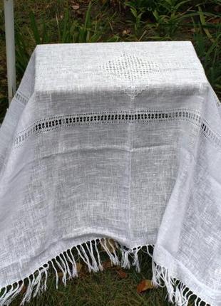 Льняная белая скатерть с мережкой и кистями 195*140 см