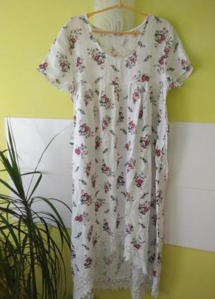 Платье цветочный принт с кружевом  италия