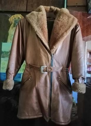 Кожаная дублёнка пальто