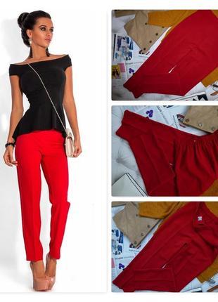 Стильные красные брюки, высокая талия