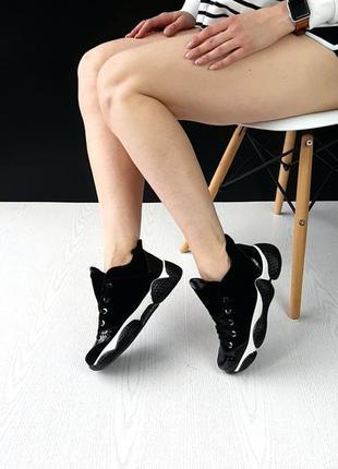 Стильные ботинки кроссовки натуральная замша
