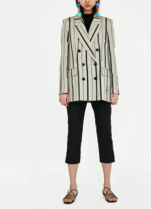 Zara трендовый двубортный жакет блейзер пиджак размер с