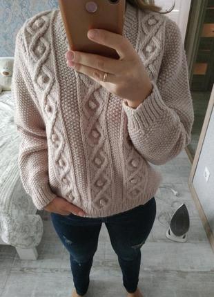 Теплый шерстяной вязаный свитер v-образный вырез