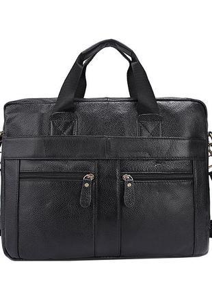 Черная сумка из мягкой кожи