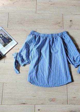 Стильная блуза блузка в вертикальные полоски с открытыми плечами xs s m