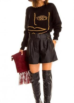 Женские шорты из экокожи чёрного цвета (италия) размер l