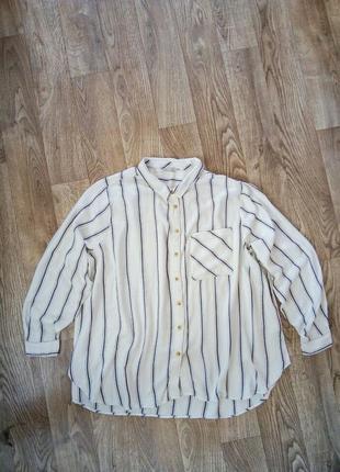 Стильная натуральная вискозная рубашка в полоску большой размер 22-24 рр.