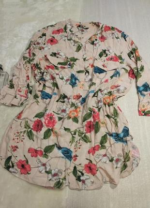 Рубашка  из вискозы принт птицы и цветы от h&m