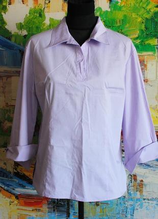 Блуза рубашка сиреневая фиолетовая светлая тренд офис университет l - xl