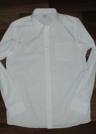 Беленькая рубашечка с длинным рукавом фирмы маркспенсер на 14-15 лет