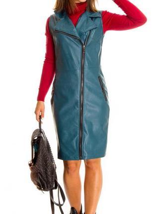 Женское платье из эко кожи new collection (италия) размер s-m