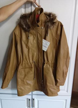 Новая винтажная кожаная парка (наппа кожа, nappa leather)