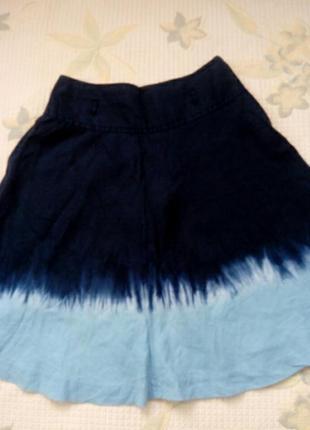 Юбка, лен, варенка, сине- голубая  расклешенная юбка.
